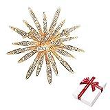 Nifocc Broche dorado de estrás, diseño de girasoles, cristal, pins para mujer, vestido, suéter, abrigo, sombrero, decoración.