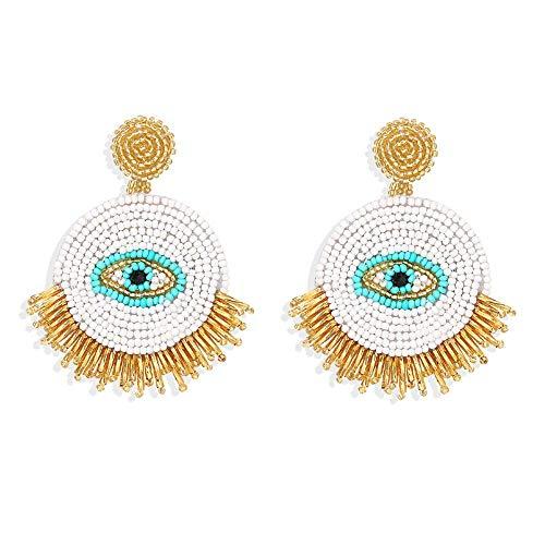 Pendientes colgantes con cuentas de ojos redondos geométricos hechos a mano a la moda, joyería para mujer, regalos de boda bohemios, 6 cm