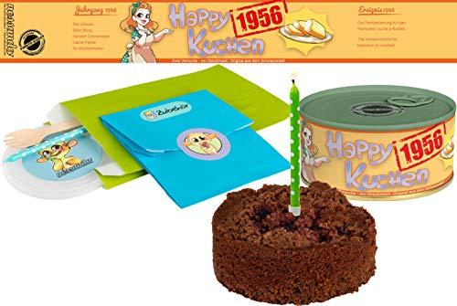 Happy Kuchen | Kuchen in der Dose | Personalisiert mit Wunsch- Geburtsjahr, Namen und Geschmack | Geburtstagsgeschenk | Geschenk | Geschenkidee (Schoko-Kirsch, Geburtsjahr 1956)