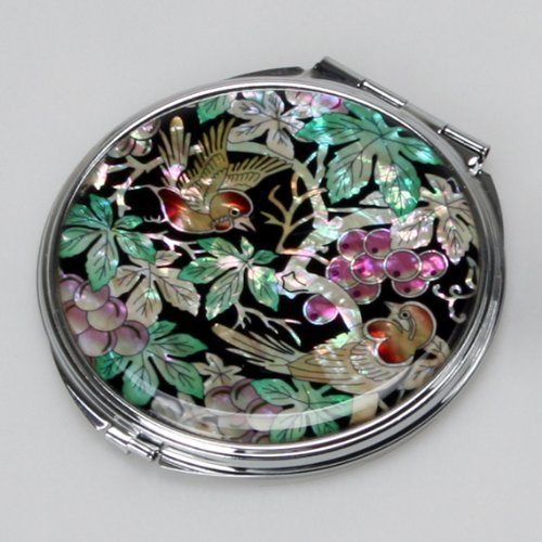 Mother of Pearl Green Leaf Grape Design Compact Makeup Round Mirror by Antique Alive