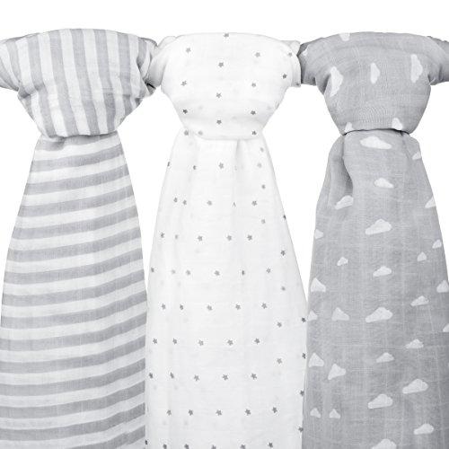 Muslin Baby Swaddle Blankets, 47x47 (3 Pack) Grey Cloud, Stripe & Stars