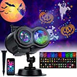 Halloween Christmas Projector Lights Outdoor - 26 HD Effects (3D Ocean Wave & Patterns) Waterproof with RF Remote Control Timer for Indoor Holiday Night Gathering Party, RGB + Multicolor