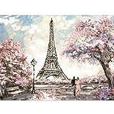 5D DIY diamante pintura paisaje París Torre punto de cruz taladro completo redondo bordado mosaico imagen de diamantes de imitación A4 50x70cm
