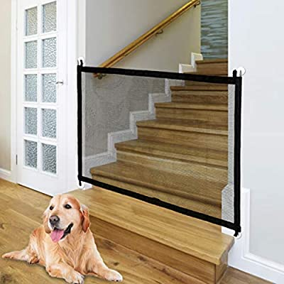 Baby Gate Magic Gate for Dogs, Indoor Outdoor Baby Gate, Portable Folding Mesh Dog Gate, Extra Wide Baby Safety Gate and Pet Gate for Stairs, Doors, Extends up to 40.4'' X 29.5'' (Black)