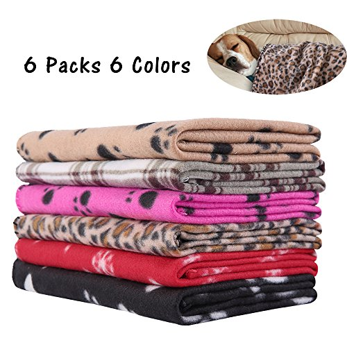 6 Pack Puppy Blanket Warm Dog Cat Fleece Sleep Mat/ Bed Cover for Kitten Small Animals