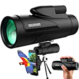 Monocular Telescope for Smartphone with FMC & BAK4 Prism, Mini Telescope for Adult High Powered 12×50 Waterproof, Low Night Vision Portable Handheld Telescope for Watching (Black)
