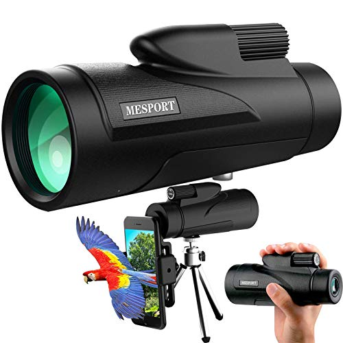 Monocular Telescope for Smartphone with FMC & BAK4 Prism, Mini Telescope for Adult High Powered 12×50 Waterproof, Low Night Vision Portable Handheld Telescope for Watching