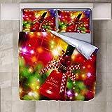 Bdhnmx Duvet Cover Set 3 Pcs 3D Printed Christmas Bell Bedding Set with Zipper Closure Supersoft Lightweight Microfiber Cotton-Super King Size 220x260cm