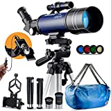 Telescopios Astronomicos,400/70mm Portátil Telescopios Astronomicos Principiantes,Telescopio Niños,Trípode Ajustable,Clip De Teléfono,Teleconversor(1.5X & 3X),Mochila Portátil,Filtro de luna