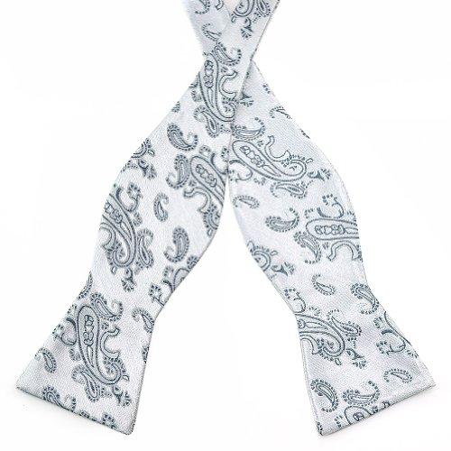 PenSee Herren Fliege Selbst Jacquard gewebt Grau & Light Grau Paisleys Seide Bow Ties