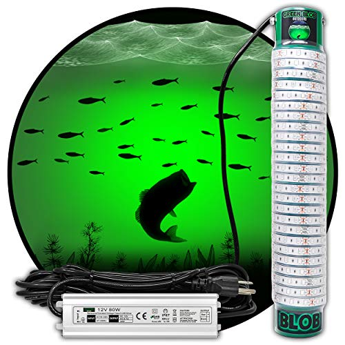 Green Blob Outdoors Underwater Fishing Light L7500 15000 with 30ft or 50ft 110 Volt AC Power Cord, Crappie, Snook, Fish Attractor (7500, 30ft Cord)