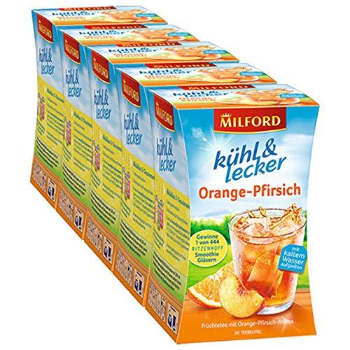 Milford kühl & lecker Orange-Pfirsich, 20 Teebeutel, 5er Pack