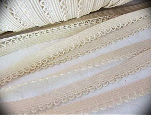 5 Yards Ivory Cream Elastic/Spandex Scallop Ribbon Lace Trim Embroidery Applique Fabric Grosgrain Delicate DIY Art Craft Supply for Scrapbooking Wrapping Band/Dress/Sewing T35