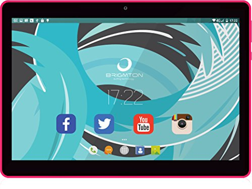 Brigmton BTPC-1019QC-R - Tableta de 10' (Allwinner A33 Quad Core 1.5 GHz, Disco Duro de 16 GB, 1 GB de RAM, WiFi, Android 6.0) Rosa