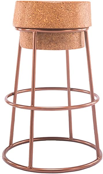 MMZZ Industrial Style Bar Stool High Stool Kitchen Chair Breakfast Chair Seat With Footrest Steel Pipe Frame Cork For Pub Counter Cafe Household