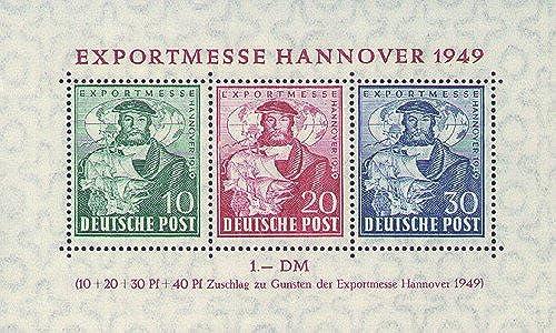 Goldhahn Alliierte Besetzung Block 1 postfrisch Exportmesse Briefmarken für Sammler