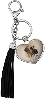 Graphics and More Great Dane Dog Breed Chrome Plated Metal Heart Leather Tassel Keychain