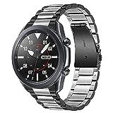 TRUMiRR No Gap Pulsera Compatible con Galaxy Watch 3 45mm Correa, Correa de Reloj de Metal de Acero Inoxidable con Clip sólido Pulsera de Adelgazamiento de Mano para Samsung Galaxy Watch3 45mm