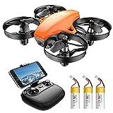 Potensic Mini Drone para Niño, Naranja Drone con Cámara HD con 3 Baterías Vuelo de 24 Mins RC Quadcopter 2.4G 6 Ejes, WiFi FPV en Tiempo Real Dron con Control Remoto A20W