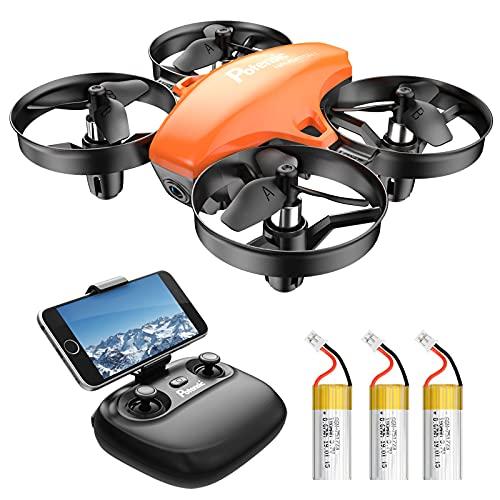 Potensic Mini Drone con 3 Batterie con Telecamera HD, Droni per bambini A20W WiFi FPV RC Quadricottero 2.4GHz Giroscopio a 6 Assi Mantiene l'Altitudine, Modalità Senza Testa per Bambini e Principianti