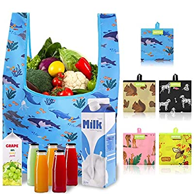 Amazon - Save 65%: Reusable Shopping Bags for Groceries, HIPPIH 5 Pack Reusable Grocery Bags fo…