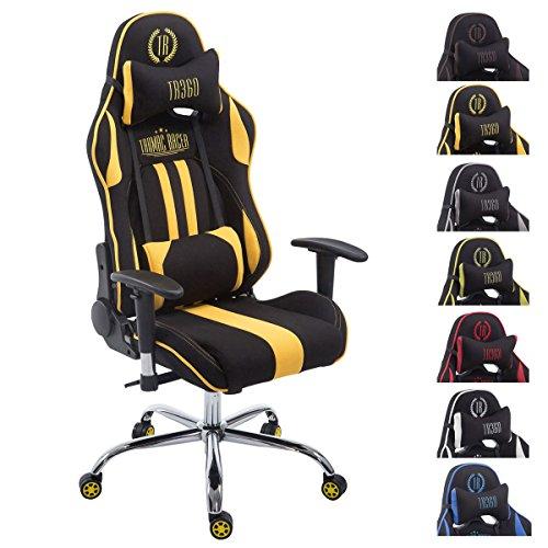 CLP Racing Bürostuhl Limit V2 mit Stoffbezug I Gamingstuhl mit Metallgestell I Schreibtischstuhl mit Laufrollen I erhältlich schwarz/gelb, ohne Fußstütze