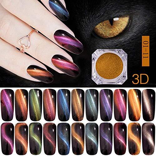 LEAMALLS 11 pièce ensemble Ongles en Poudre Nail art Glitter, Miroir manucure Kit de Pigment décoration de maquillage oeil de chat effet