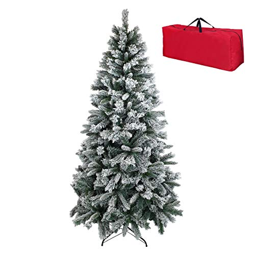 Totò Piccinni Albero di Natale INNEVATO FOLTO Berna, Copribase e Borsa, ALTISSIMA QUALITA', Neve Artificiale Effetto Realistico, Facile Montaggio, Ignifugo (180 cm)