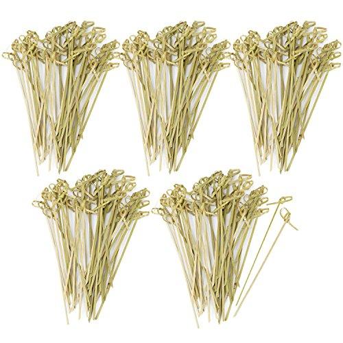 com-four® 200x Fingerfood Spieße aus Bambusholz - Holzspieße mit Knoten für edle Optik - ideal für Buffet oder Gastro (200 Stück - 15 cm mit Knoten)