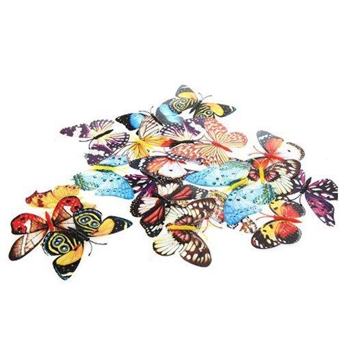TOOGOO(R) Clip de Decoration de Papillon 20pcs 10cm Artificiel Papillon Lumineux Clip pour la Decoration de Maison,Noel, Mariage, Couleurs aleatoires