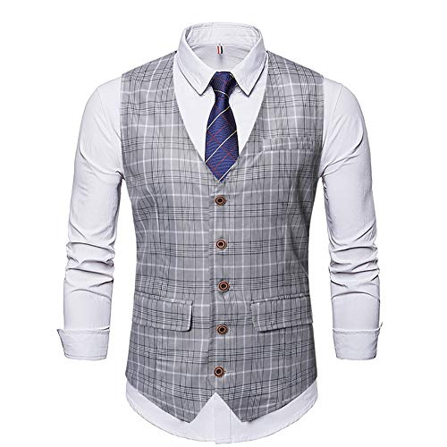 Story of life heren geruit tweed eenrijig vest retro slim fit pak vest mode prom party met V-hals plaid gilet