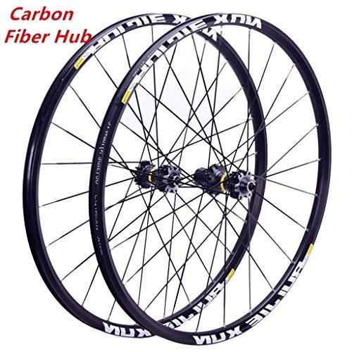 LSRRYD Juego Ruedas Bicicleta Montaña 26 27.5 29 Pulgadas Cubo Fibra Carbono MTB Ruedas Bicicleta Llantas Doble Pared Freno Disco Rodamientos Sellados 8/9/10/11 Velocidad