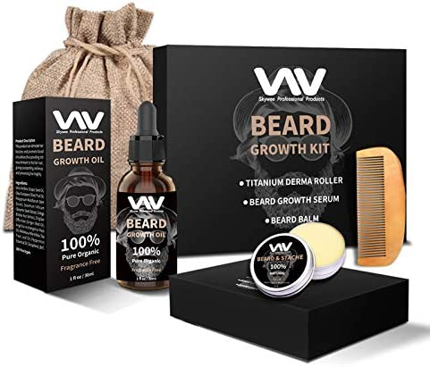 Beard Growth Kit Beard Growth Oil Serum Beard Roller for Men Facial Hair Growth Kit with Beard product image