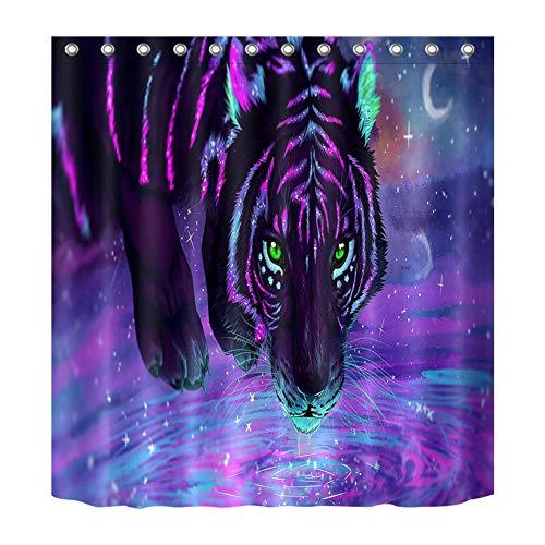 ZZZdz Aquarelverf Tiger douchegordijn. 180 x 180 cm. 12 vrije haken. Decoratie voor in huis. 3D-HD-druk. Makkelijk schoon te maken. Badkameraccessoires.