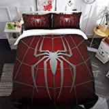 spiderman quilt - 3D Printed Spider Queen Bedding Set for Children Teens, Spider Web Pattern Duvet Cover Set with 2 Pillowcases, Dark Red Comforter Cover with Zipper Closure 90