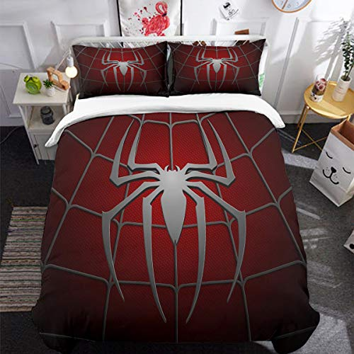 Red Spider Duvet Cover Set Queen 3 Pieces, 3D Printed Spider Web Pattern Comforter Cover Set with 2 Pillowcases for Kids Boys, Dark Red Microfiber Bedding Set with Zipper Closure Queen Size 90' x 90'