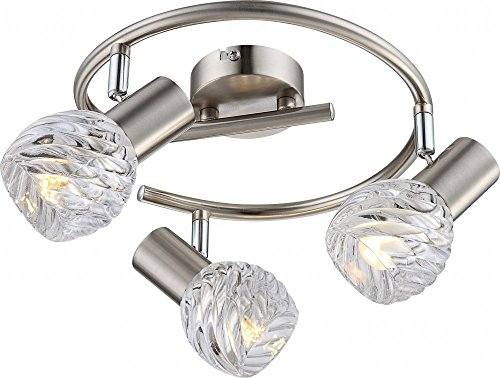Traditionelle LED Deckenleuchte nickel matt Glas gerillt 4W - Globo BORONIA 54344-3