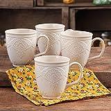 Charming Antique Style Farmhouse Lace Mug Set (LINEN)