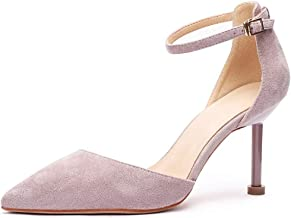 Women's pointed closed toe sandals stiletto heel ankle strap shoes(Toon purple,Lable 40/8.5 B(M) US Women)