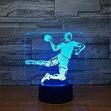 Lumière De Nuit 3D Handball Sportif (Interrupteur Tactile) Lumière De Nuit 3D Led Usb 7 Couleur Enfants Bébé Néon Lampe De Chevet Chambre Lampe De Table Vacances Garçon Fille Cadeau