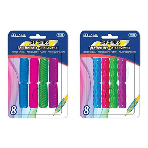 BAZIC Pencil Grip Soft Gel Pen Grip, Ergonomic Training Gripper for Righties Lefties, Comfort Grips for Adult Kids, Assorted Color (8/Pack), 2-Packs