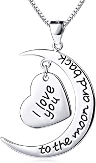 Althrorry 925 Sterling Silver I Love You to The Moon and Back Heart Pendant Necklace, 18