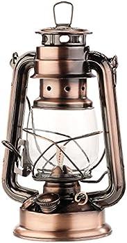Lampe-tempête rétro à pétrole 24 cm Anika - aspect Bronze [Lunartec]