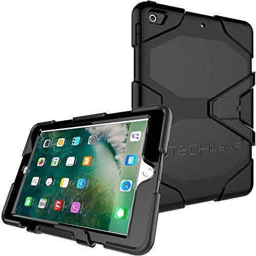 """TECHGEAR G-Shock Funda Compatible con iPad 9.7"""" 2018/2017 (6ª / 5ª generación) - Funda Protectora Prueba de Choques con Soporte - Carcasa Niños Escuelas Constructores Trabajadores [Negro]"""