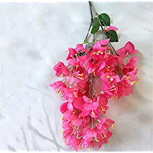 Sulin 2 Pack 100 cm Artificial Bougainvillea Spectabilis Flower Will Silk Fabric Flowers for Home Decor Table Decor DIY Flower Arrangement,Pink