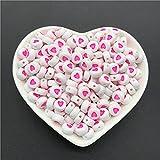 100 piezas 4x7 mm letras redondas 26 letras cuentas multicolor melocotón en forma de corazón cuentas espaciadoras para pulsera, collar, fabricación de joyas-109