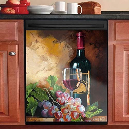 Dishwasher Decal Cover,Wine Decoration Kitchen, Country Decor Grape Sticker, Magnetic Sticker Decorative Dishwasher,Fruit Kitchen Panel Decal 23x26inch