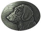 Brazil Lederwaren Gürtelschnalle Rauhaardackel 4,0 cm | Buckle Wechselschließe Gürtelschließe 40mm Massiv | für Jagd-Outfit und Hunde-Besitzer