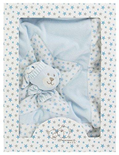 Manta para bebé con diseño de oso de peluche, color azul