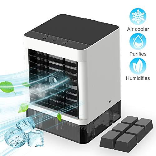 Mini Air Cooler, Mobile Klimageräte Tragbare Luftkühler Klimaanlage Luftkühler, 3 in1 Luftbefeuchter und Luftreiniger Büro Desktop-Luftkühler Mini-Ventilator für Zuhause, drinnen, Küche, im Freien